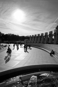 "My alternate naming for this photo is ""Walking Towards The Light."" This was taken at the World War II Memorial in Washington D.C. on October 30, 2010."